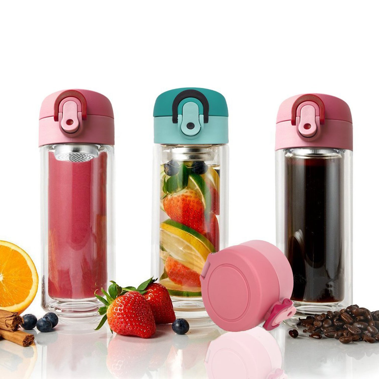 TENTA Kitchen 300ml Double Wall Glass Tea Infuser Mug Tumbler, Fruit Infusion Glass Bottle & Coffee Brewer with Built-in and Seal-Well Leaf Filter(Pink)
