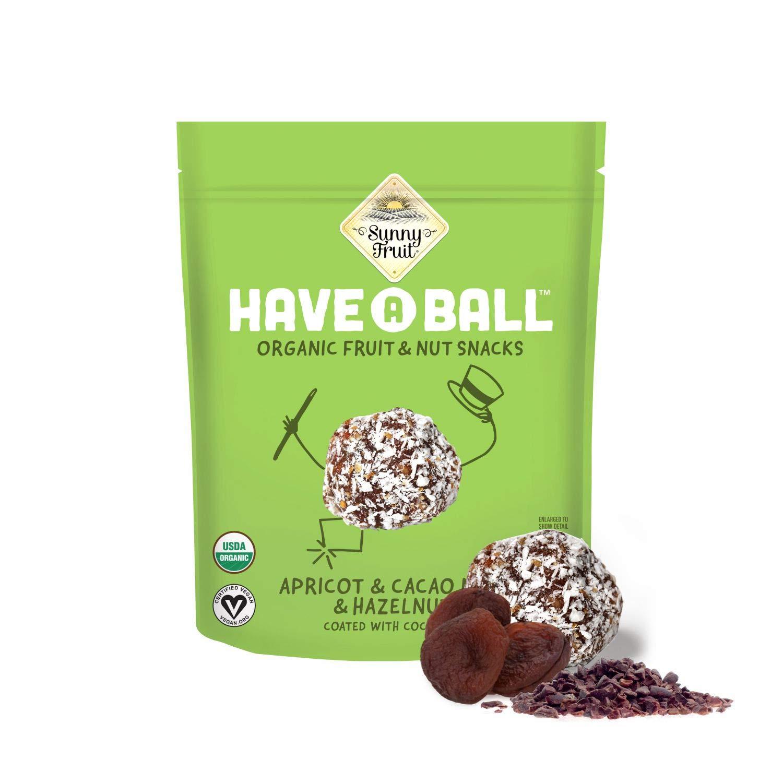 100% RAW ORGANIC Apricot, Cacao Nibs & Hazelnut Balls - Sunny Fruit Have A Ball (9 Balls) - Whole Food Energy Snacks | NO Added Sugars or Preservatives | NON-GMO, VEGAN, GF & Kosher