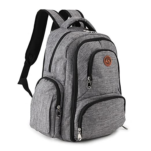 Imyth Upgraded Large Capacity Diaper Backpack Travel Waterproof Baby Bag with Insulated Pockets Fit Stroller, Linen Gray