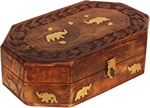 Wooden Jewelry Box for Women | Keepsake Box Organizer | Trunk Up Brass Elephant Design | Wood Handmade Trinket Treasure Memory Box for Rings Necklace Bracelet Watches Earrings | Home Living Room Decor