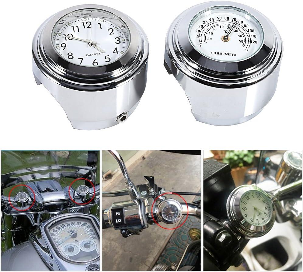Qiilu Motorrad Uhr Lenkerhalterung Uhr 7 8 1 Motorrad Lenkerhalterung Uhr Zifferblatt Uhr 0026 Thermometer Temp Weiß Auto