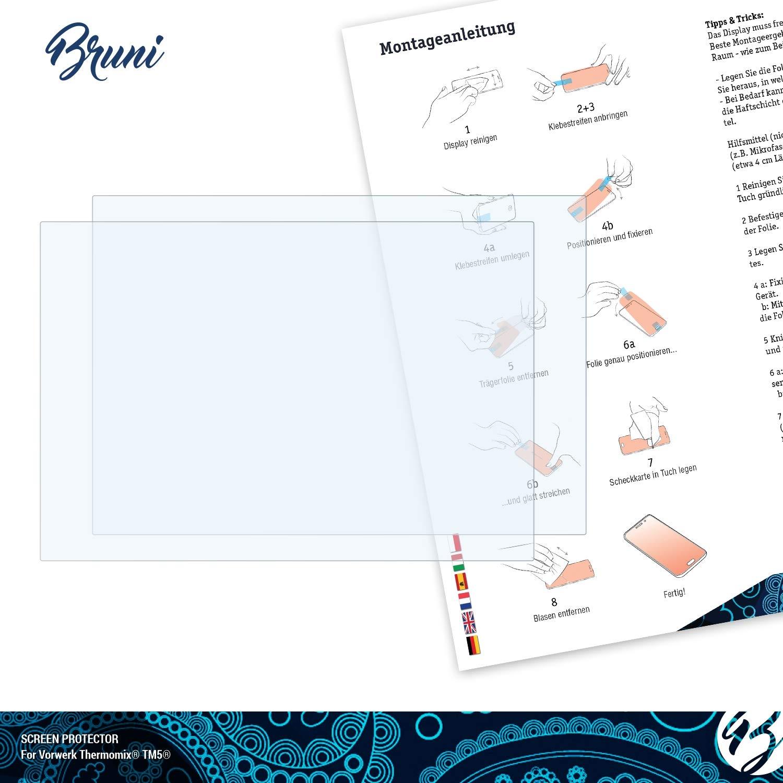 2X Bruni Protecteur d/écran Convient pour Vorwerk Thermomix/® TM5/® Film Protecteur Cristal Clair /Écran Protecteur