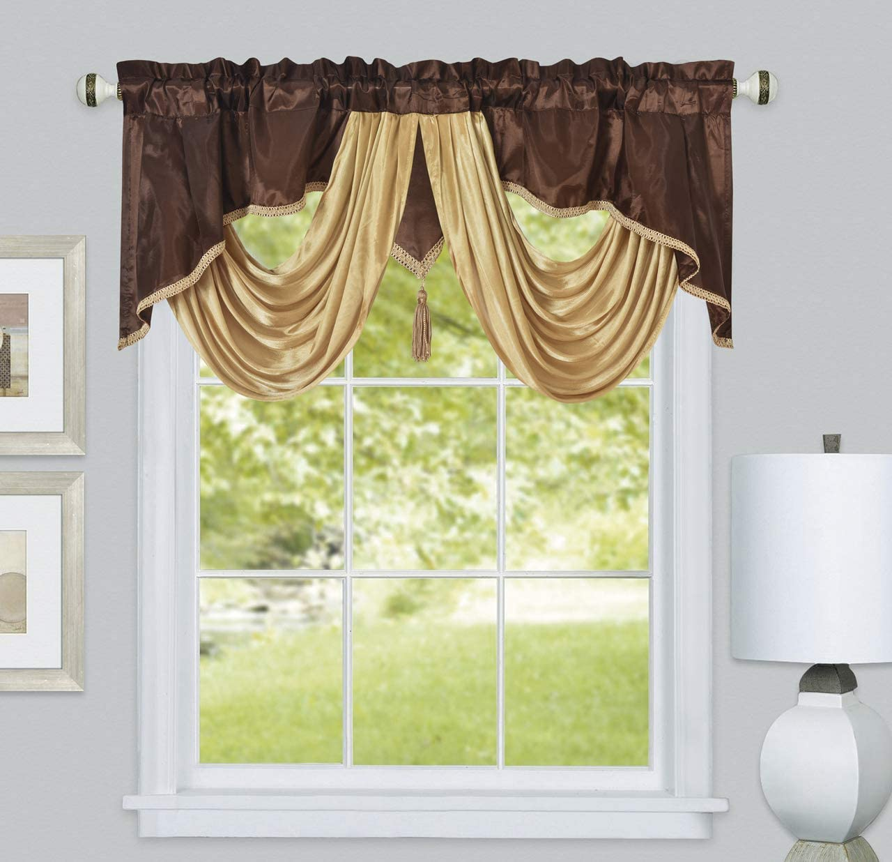 Valarie Fancy Window Valance 54 X 18 Inches Taffeta Fabric With Soft Satin Swag Add Some Royal Luxruy Accent To Your Home Brown Furniture Decor
