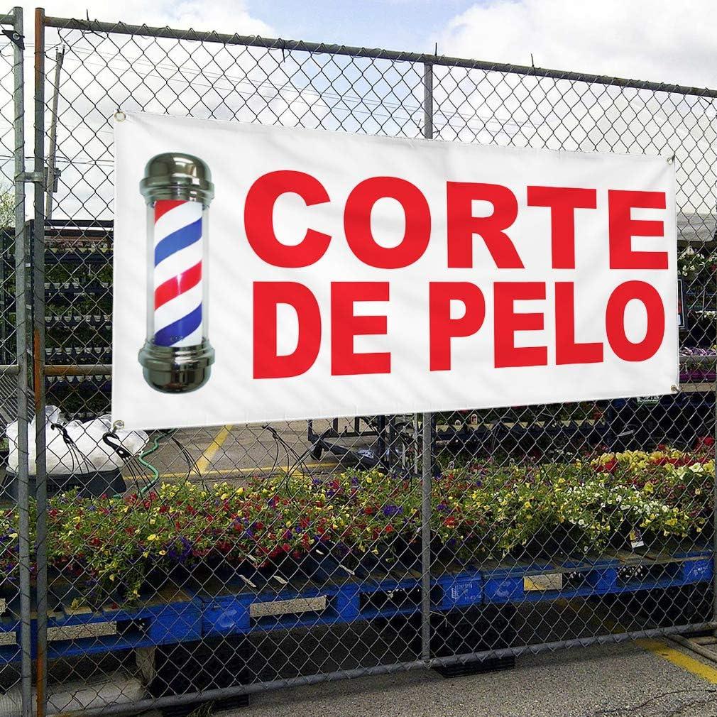 Vinyl Banner Multiple Sizes Corte De Pelo Red Business Outdoor Weatherproof Industrial Yard Signs 8 Grommets 48x96Inches