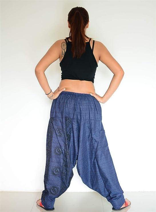 Samurai Pants Cotton Unisex Harem Pants Ninja Pants Aladdin Pants Maxi Pants Gypsy Pants Drop Crotch Pants Trouser Navy Blue White MSP54