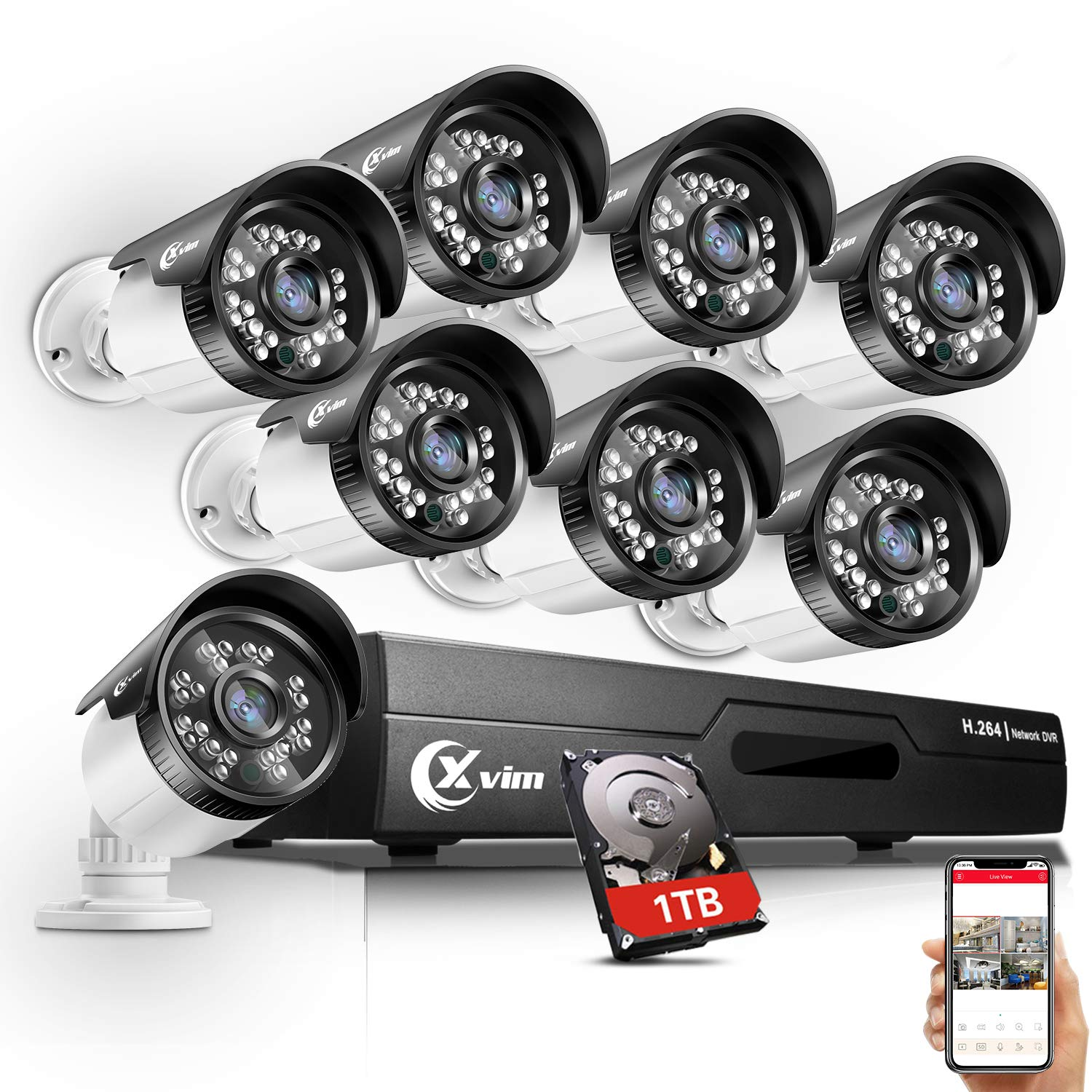 XVIM 720P Outdoor Home Security Camera System – 8 Channel 1080N DVR 1TB Hard Drive 8 HD Bullet Surveillance Cameras with Night Vision and Motion Detection