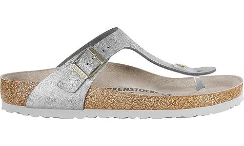9b0123d9838 Birkenstock Gizeh SL 1008790 Washed Metallic Silver Narrow  Amazon ...
