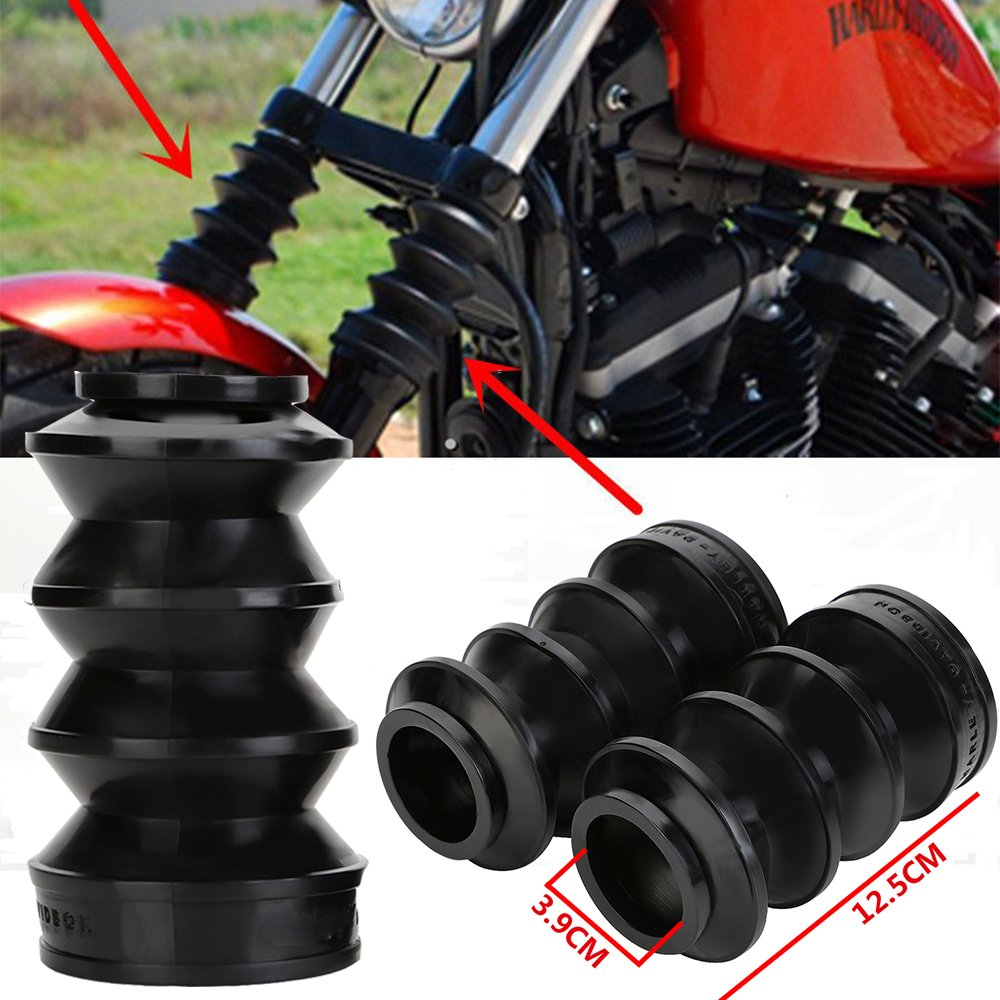 ECLEAR Rubber Front Fork Boots Shock Gaiters For Harley Davidson Iron 883 XL883 - Black