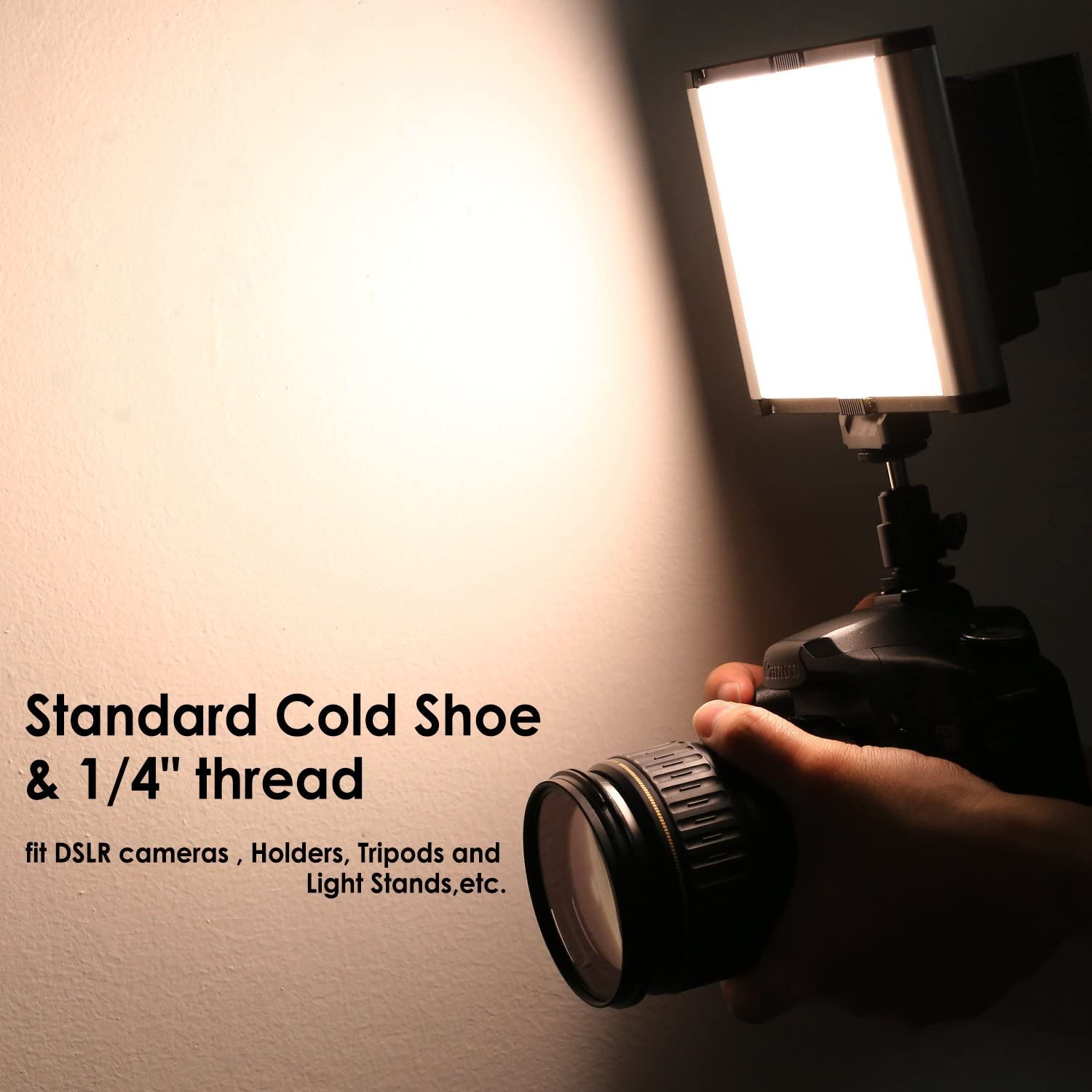 Dimmable Bi-Color LED Panel with Standard Cold Shoe for DSLR Cameras,280 LED Beads,3200-5600K,CRI 95+ Battery NOT Included Neewer LED Video Light