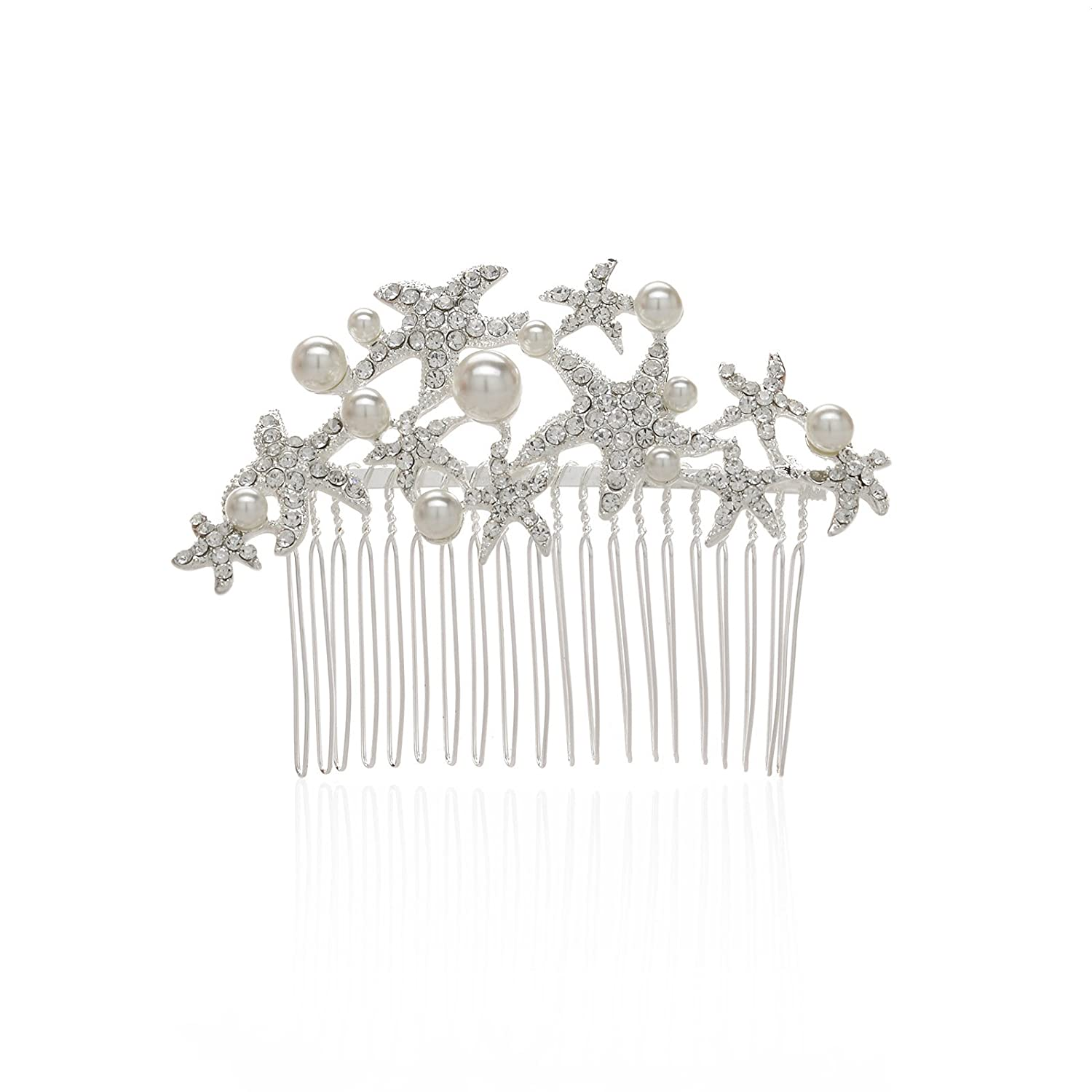 AWEI Bridal Sparkly Starfish Floral Charm Hair Comb Head Jewelry, Freshwater Pearl Wedding Hair Accessories Silver/Gold Plated, 2017 Head Jewelry