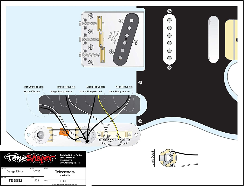telecaster fender wire diagrams amazon com toneshaper guitar wiring kit  for fender telecaster  toneshaper guitar wiring kit