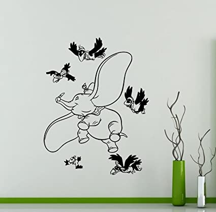 amazon com dumbo elephant wall vinyl decal disney cartoon flyingdumbo elephant wall vinyl decal disney cartoon flying elephant vinyl sticker home nursery interior kids baby