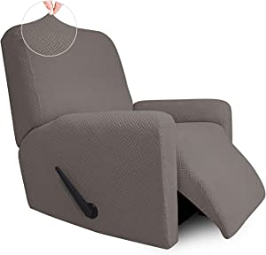 Easy-Going Stretch Jacquard Recliner Couch Cover, 4-Piece Soft Sofa Cover, Sofa Slipcover with Elastic Loop, Washable Furniture Protector for Kids, Pets, Dogs, Cats ( Recliner, Taupe)