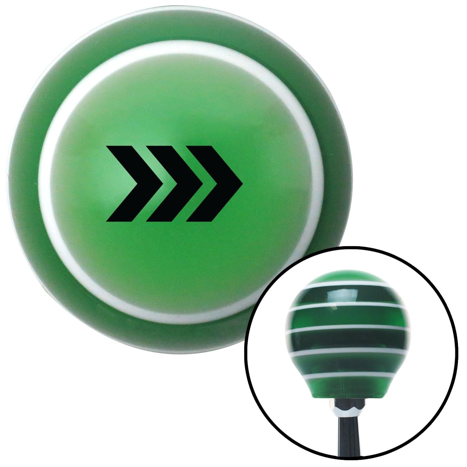 Black Military Arrows Right American Shifter 121341 Green Stripe Shift Knob with M16 x 1.5 Insert