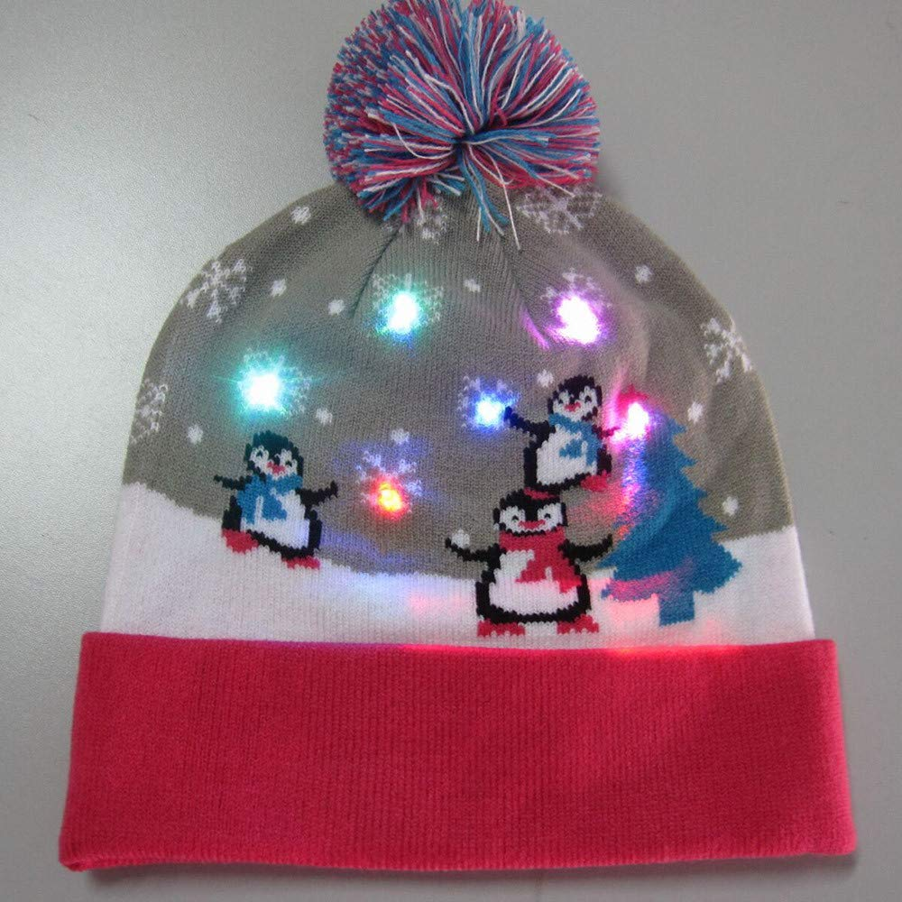 Kids Adult 2018 New Christmas LED Light-up Hat 0617365b7919