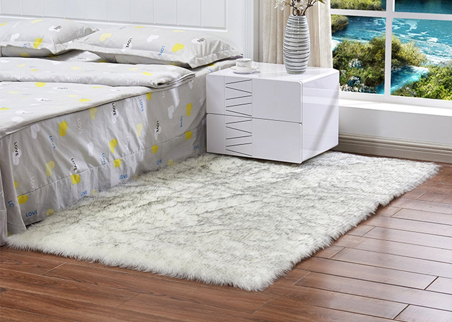 FOLWEP Wool Rug Home Sheepskin Faux Fur Area Rugs And Carpets For Living room Kids Room Coffee Table Bedroom Carpet,White with Grey Top,3.3 x 6.6 feet