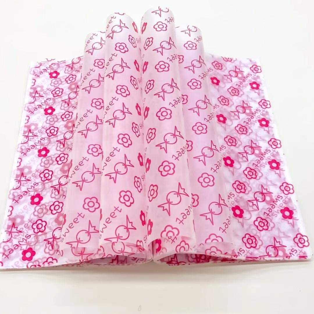 Wax Paper Deli Wraps Food Wrapping Basket Liners Deli Papers for Handmade Soap,Cookies and Carmels (100 sheets, Candy)