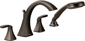Moen T694ORB Voss 2-Handle Deck Mount Roman Tub Faucet Trim Kit, Valve Required, Including Single Function Handshower, Oil Rubbed Bronze
