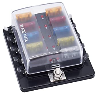 [DIAGRAM_09CH]  Amazon.com: Cllena 10-Way Blade Fuse Box [LED Indicator Fuse Holder +  Protection Cover] - Fuse Block for Car Boat Marine Automotive: Automotive | 10 Way Blade Fuse Box |  | Amazon.com