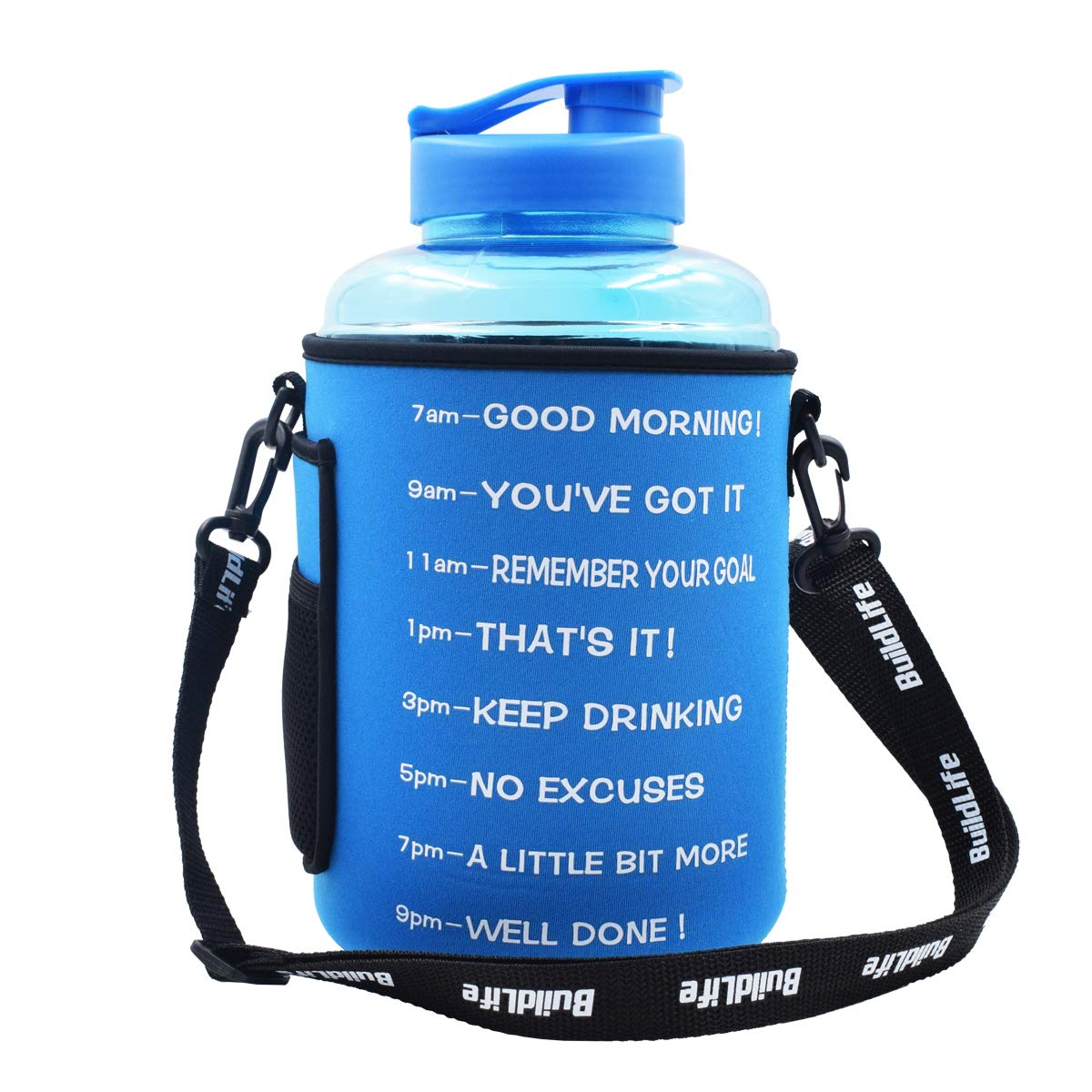 BuildLife 1 Gallon(128OZ) Sports Water Bottle Inspirational Fitness Workout Wide Mouth with Time Marker and Sleeve for Measuring Your H2O Intake BPA Free (1 Gallon, 1 Gallon-Blue with Sleeve)