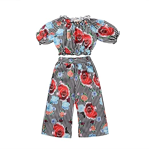 f1d81bedc3e Amazon.com  Toddler Girl Ruffle Tube Top+Floral Wide Leg Pants Striped  Outfits Set  Clothing
