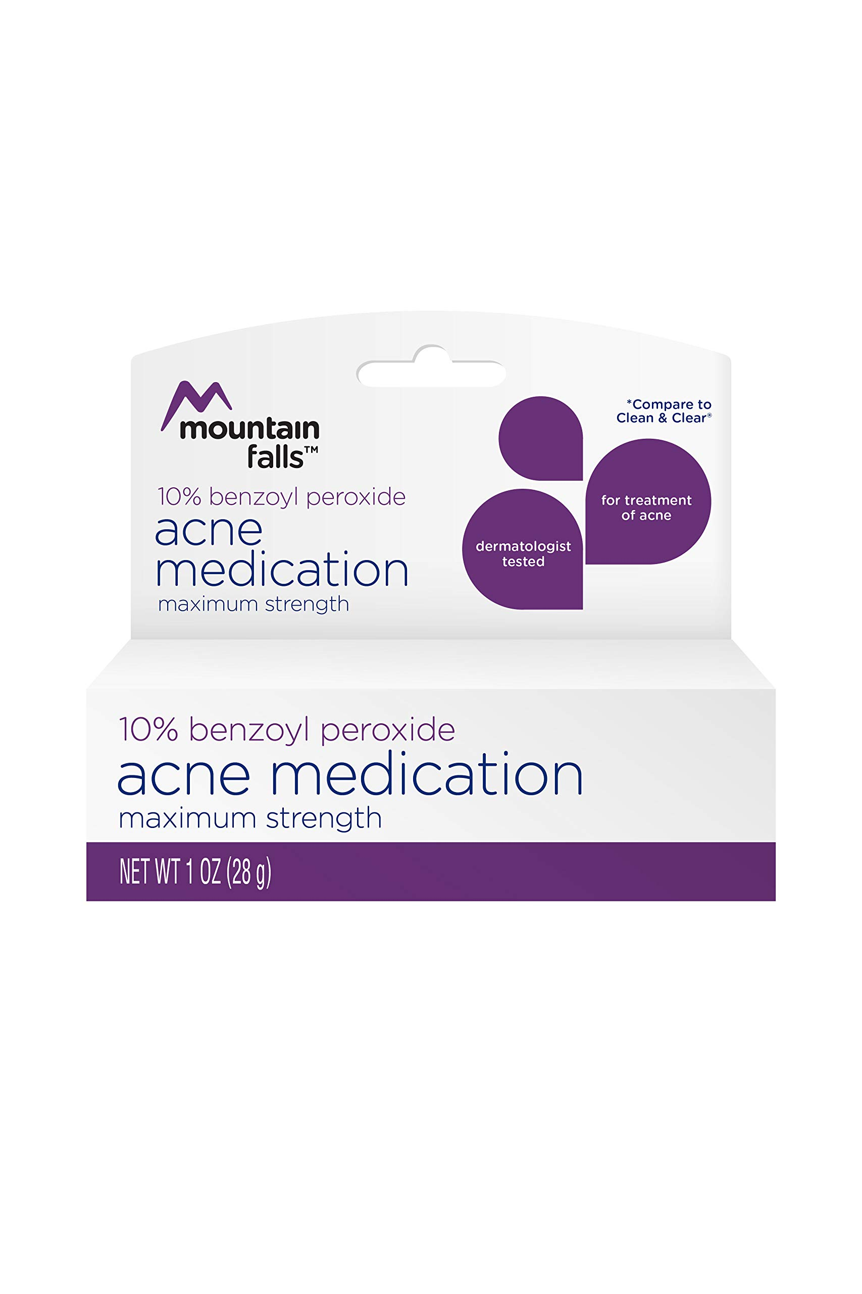 Mountain Falls 10% Benzoyl Peroxide Acne Medication, Maximum Strength, Compare to Clean & Clear, 1 Fluid Ounce