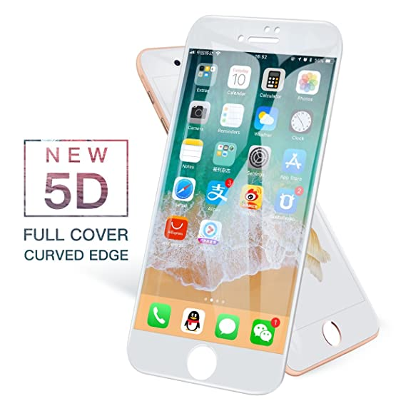 big sale 4403b 86934 iONCT 5D Curved Edge Glass for iPhone 6 6s Glass Full Cover HD for iPhone  6s 6 Screen Protector Tempered Glass (White, for iPhone 6/6s)