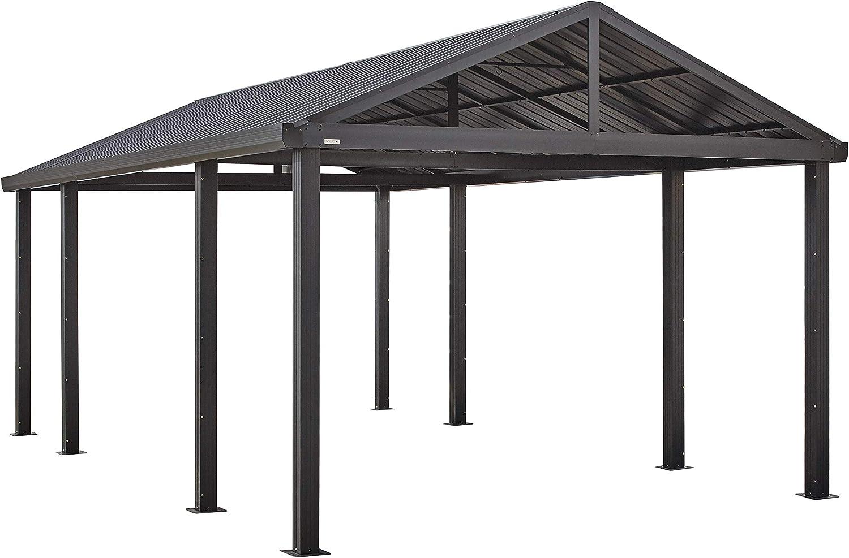 Sojag Samara 20 x 12 con marco de aluminio y techo de acero galvanizado de 10 para fácil conducción a través de acceso, gris: Amazon.es: Jardín