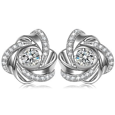 Fashion Women Earrings 925 Sterling Silver 5A Round Cubic Zirconia Stud Earrings Jewellery Gift D1lpVz8sR