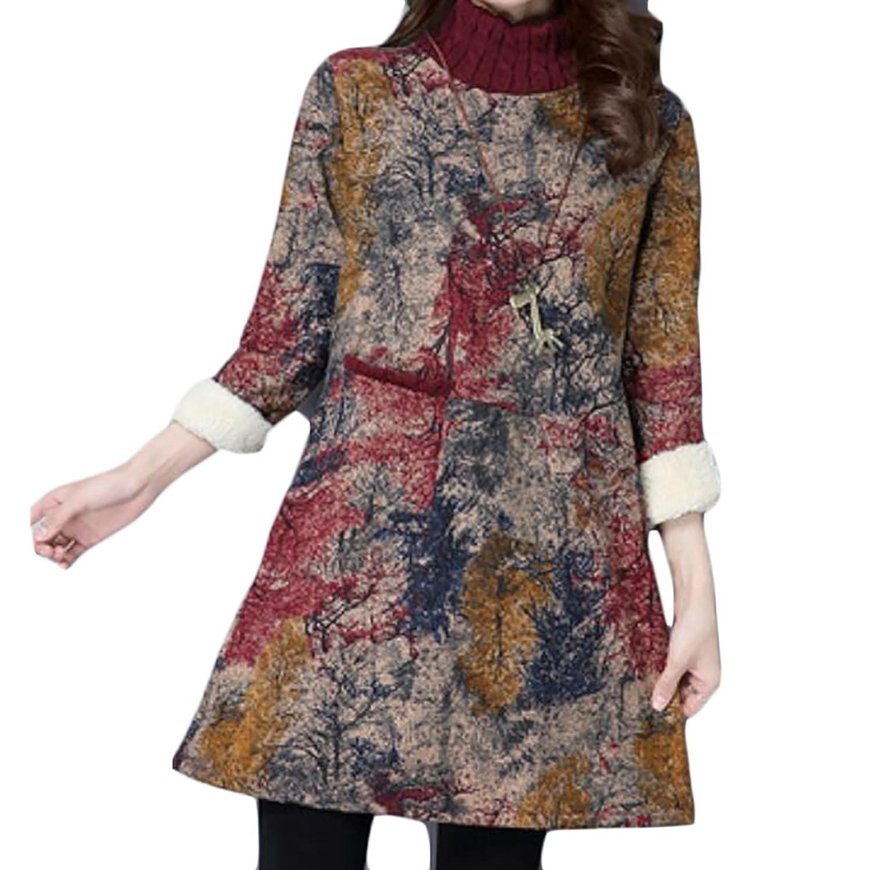 WANSHIYISHE-Women DRESS レディース B076HFY5VG  ブラウン Medium
