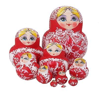 10pcs Muñecas de Anidación Rusa Matrioska Flores Pintada de Mano Madera Rojo Blanco: Hogar