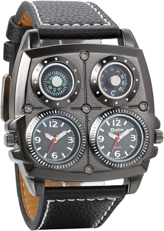Avaner Grande Reloj Deportivo Militar para Hombre 3 Zonas de Horario Diferente, Reloj de Piloto Correa de Cuero Cuarzo Analogico, Diseño Llamativo Original