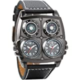 Avaner Mens Punk Unique Big Face Analog Dual Time Quartz Business Casual Watch with Decorative Compass and Thermometer Dial Black Leather Strap