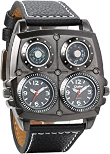 Avaner Men's Punk Wristwatch Dual Time Zone Big Face Leather Strap Watch Analog Quartz Sports Watch with Decorative Compass and Thermometer Dials