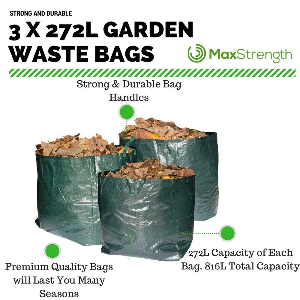 Bolsas de basura Max Strength de primera calidad para jardín. Juego de 3 bolsas reutilizables con asas. 272 litros de capacidad por bolsa, resistentes e ...