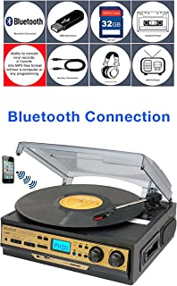 Boytone BT 27G C Bluetooth Connection 3 Speed Stereo Turntable, 2 Built