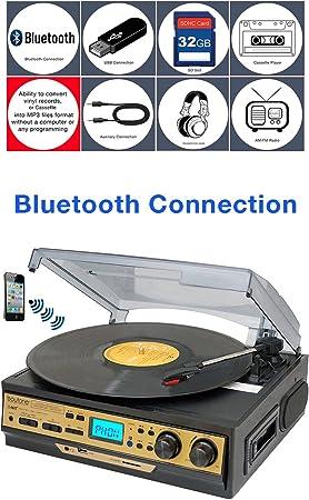 Boytone BT-27G-C - Tocadiscos estéreo con conexión Bluetooth (3 ...