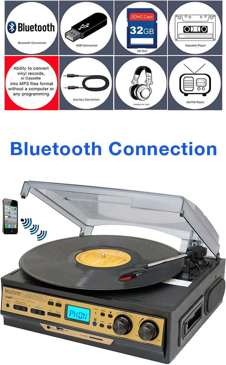 Boytone BT-27G-C Bluetooth connection 3-Speed Stereo Turntable, 2 built in Speakers Digital LCD Display AM/FM Radio, USB/SD/AUX+ Cassette/MP3 & WMA Playback /Recorder & Headphone Jack + Remote control by Boytone