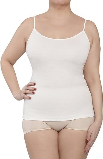 Camiseta de tirantes para mujer, ropa interior, de lana y algodón, de raso, modelo 4010: Amazon.es: Ropa y accesorios