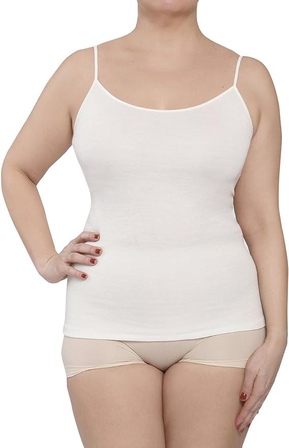 Camiseta de tirantes para mujer, ropa interior, de lana y algodón ...