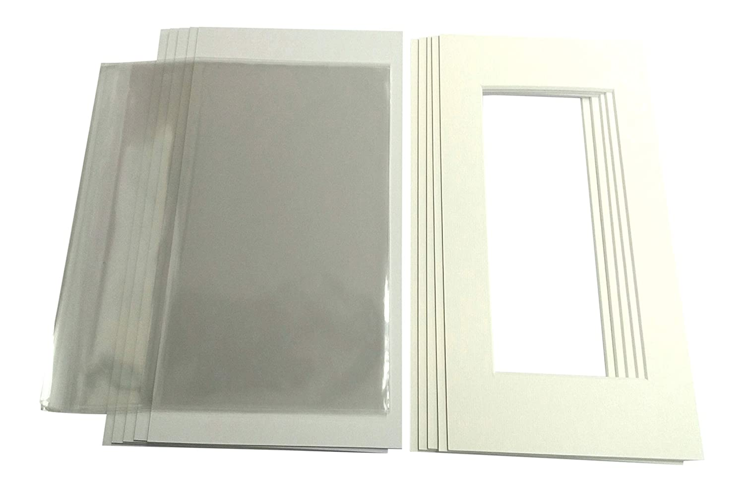 10 x Pack of Picture/Photo Mounts with Backs & Clear Bags - 14 x 11