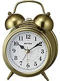 リズム時計工業(Rhythm) 置き時計 金色 イブシ仕上 13.4x9.6x6cm 目覚まし時計 連続秒針 レトロ アンティーク調 ベル音 8RAA06SR63
