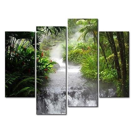 Decorazione da parete formata da 4 pannelli di tela, con stampa che ...