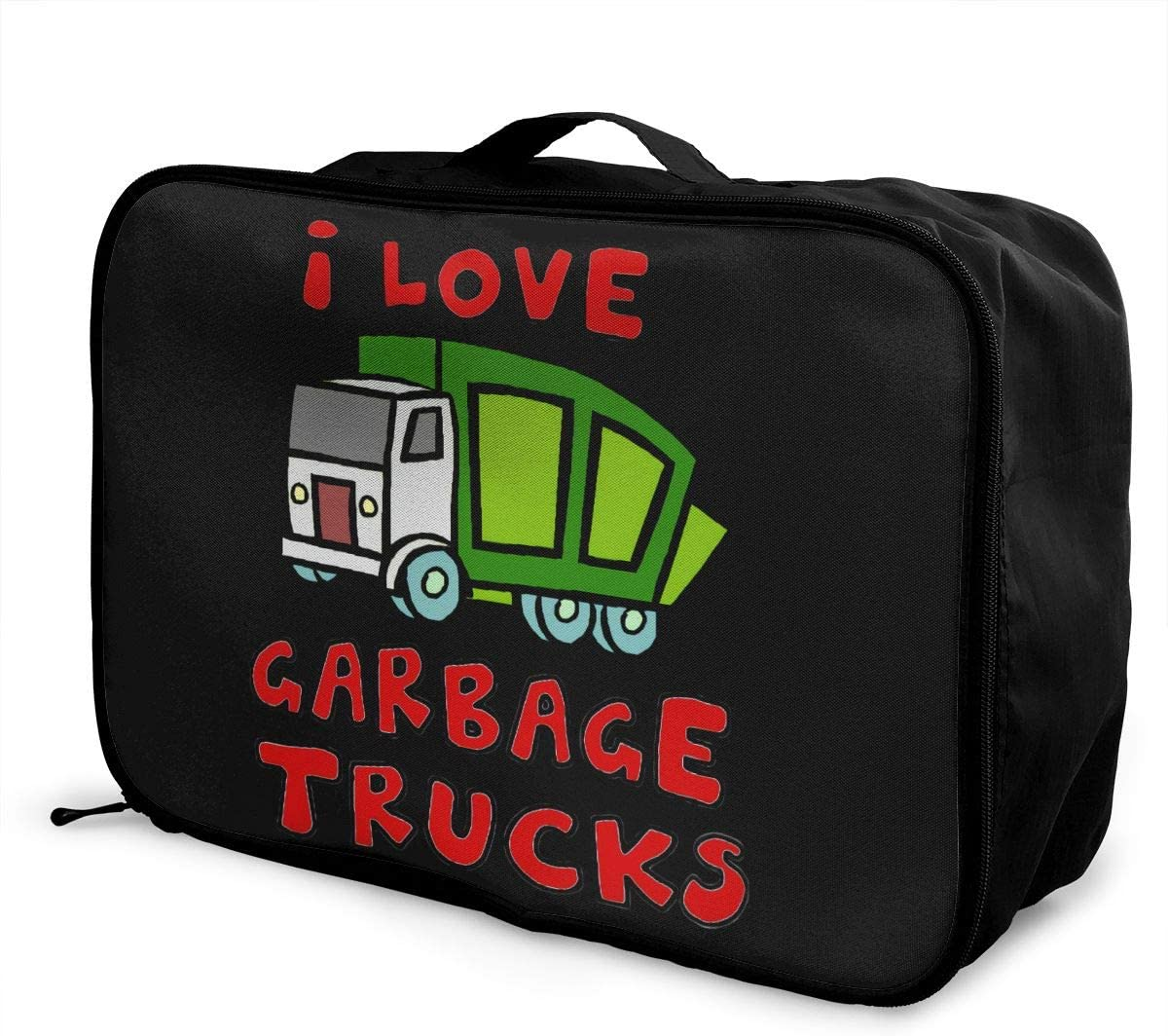 I Heart Love Garbage Trucks Lightweight Large Capacity Portable Luggage Bag Hanging Organizer Bag Makeup Bag