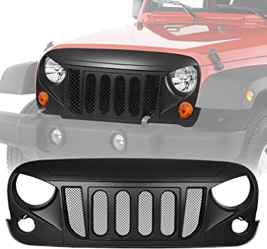 Gladiator Vader Grille Front Red Black for 2007-2017 Jeep Wrangler JK JKU Unlimited Rubicon Sahara X Off Road Sport Exterior Accessories Parts