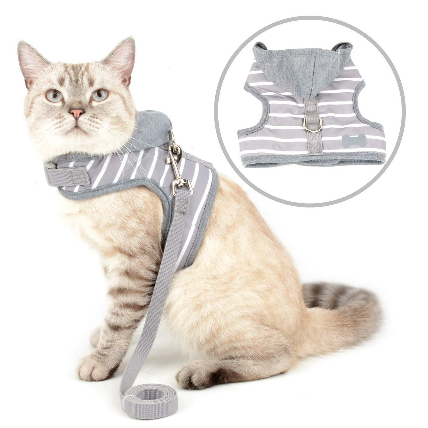Zunea Escape Proof Cat Harness and Leash Set Small Dog Hoodie Jacket Vest Harness No Pull Step-in Super Soft Sponge Padded Striped Puppy Clothes for Walking Chihuahua Kitten Gray S by Zunea