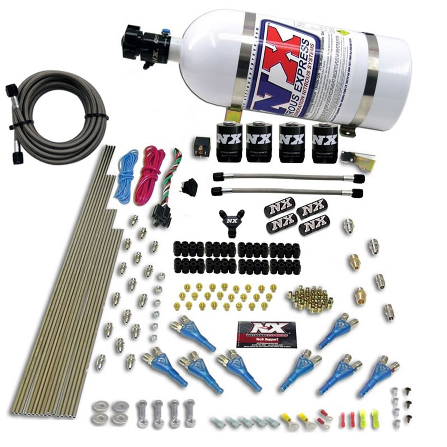 Nitrous Express 90006-10 200-600 HP 8-Cylinder Gasoline Shark Direct Port System with 4 Solenoids and 10 lbs. Bottle