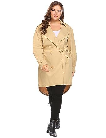 da7f55a193659 IN VOLAND Plus Size Women s Trench Coat Long Jacket Windbreaker Overcoats  (14W