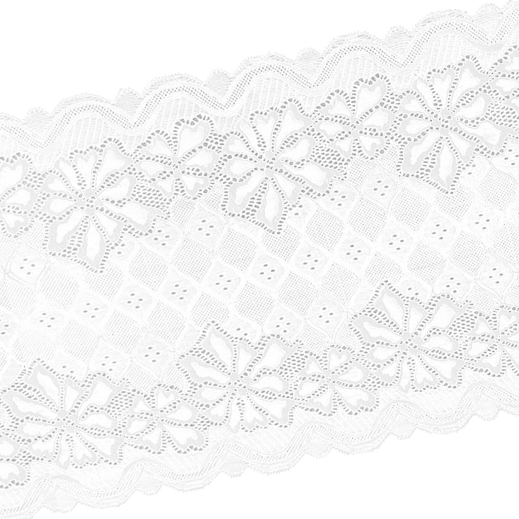 MagiDeal 5 Yards 24cm Stretch Lace Ribbon Floral Trim Sewing Lace Fabric Applique Clothing Accessories Crafts for Bridal Wedding Veils Dress DIY - white