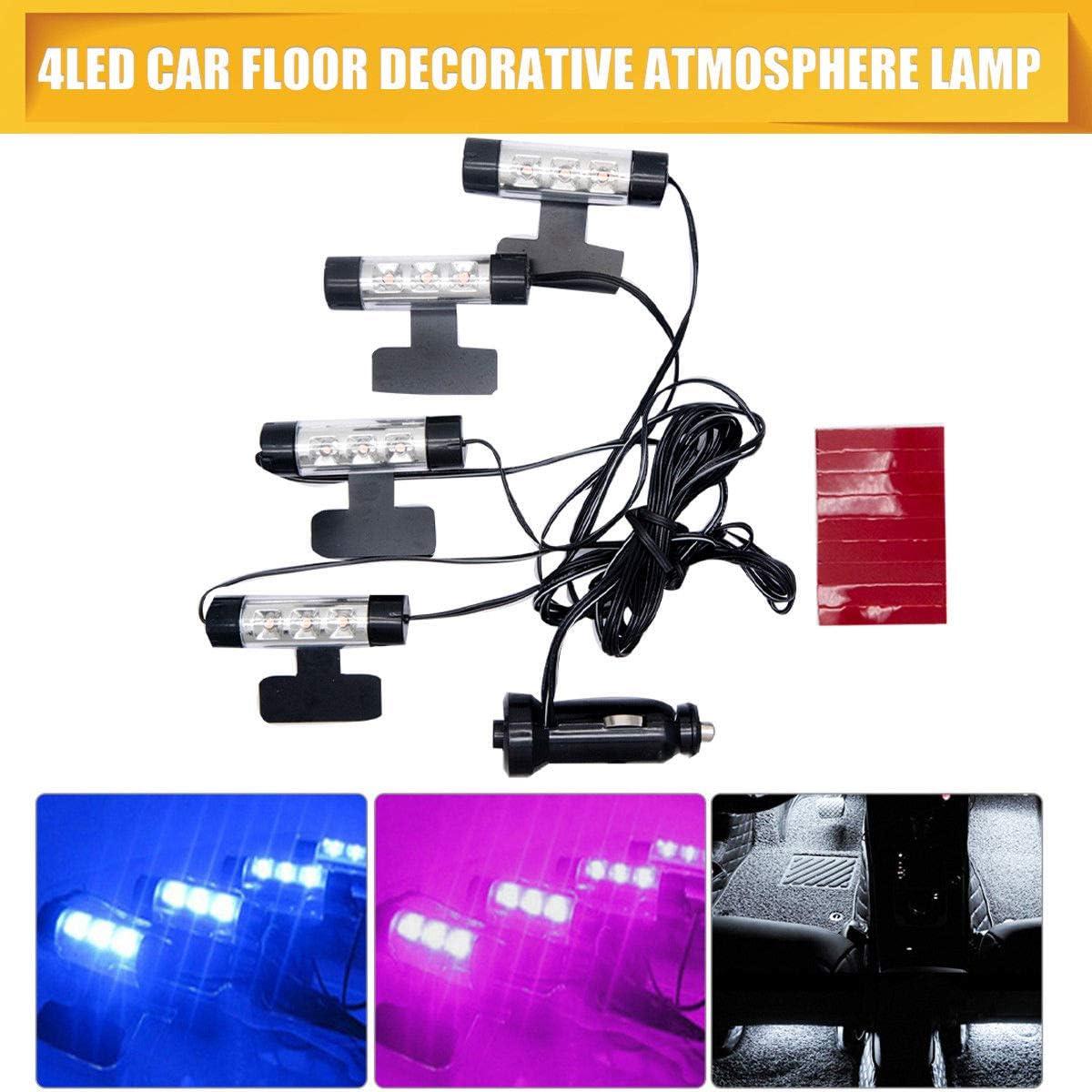 3 LED 12 V auto carica Glow interno decorativo 4 in1 Atmosphere luce viola Auto Atmosphere lampada piede Atmosfera interna lampade decorative Atmosphere Neon Light HugeAuto 4